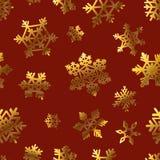 Guld- snöflingor på rött för modell för papper för gåvaask vektor illustrationer
