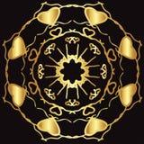 Guld snör åt modellen på en svart bakgrund Arkivbilder