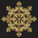 Guld snör åt modellen på en svart bakgrund Royaltyfri Bild