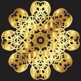Guld snör åt modellen på en svart bakgrund Fotografering för Bildbyråer