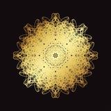 Guld snör åt modellen på en svart bakgrund Arkivfoton