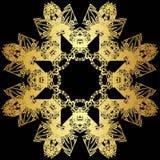 Guld snör åt modellen på en svart bakgrund Royaltyfri Fotografi