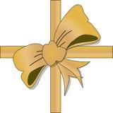 Guld- snöra åt pilbågen arkivfoto