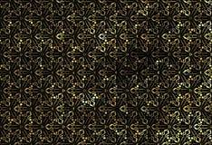 Guld- snöra åt prydnaden på en svart bakgrund stock illustrationer