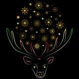 Guld- snöflingor som är ordnade i en Shape av en cirkel mellan Deer& x27; s-horn Hand dragen färgrik kontur av renen Fotografering för Bildbyråer