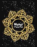 guld- snowflake glad jul Stilfulla mörka hälsningkort Royaltyfri Foto