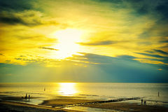 Guld- solnedgång över norrhavet Royaltyfri Fotografi