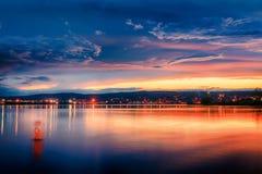 guld- solnedgång Arkivbild