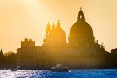 Guld- solnedgång bak den Santa Maria della Salute kyrkan i Venedig Arkivfoto