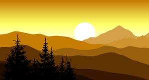 Guld- solnedgång i bergen också vektor för coreldrawillustration Royaltyfri Foto