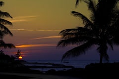 Guld- solnedgång i Jamaica Arkivbild