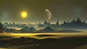 Guld- solnedgång på en främmande planet lager videofilmer