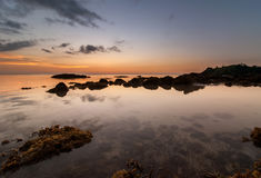 Guld- solnedgång på kudat sabah Arkivbild