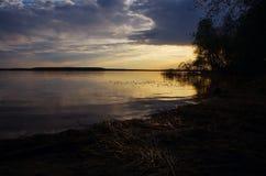 Guld- solnedgång på sjön Royaltyfria Bilder