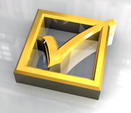 guld som 3d ok isoleras, hak Royaltyfri Fotografi