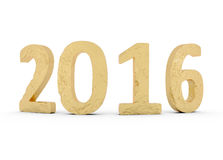 Guld 2016 som för nytt år isoleras på vit fotografering för bildbyråer