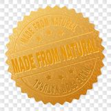 Guld som GÖRAS FRÅN NATURLIG utmärkelsestämpel stock illustrationer