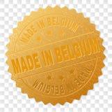 Guld som GÖRAS I BELGIEN medaljongstämpel stock illustrationer