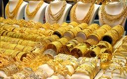 Guld- Souk i Dubai arkivbilder