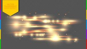 Guld- specialeffekt för vektor Glödande strimmor på den genomskinliga bakgrundsstordian vektor illustrationer