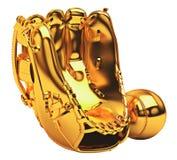 guld- sportar för baseballhandske Royaltyfri Fotografi