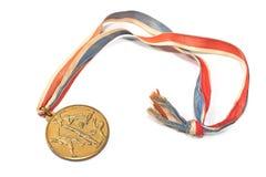 Guld- sportmedalj för tappning Royaltyfri Foto