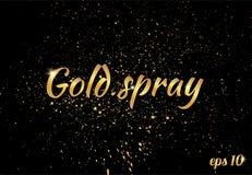 Guld- sprejtextur som isoleras på svart bakgrund royaltyfri illustrationer