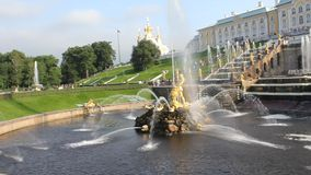 Guld- springbrunnar i Peterhof sommarafton St Petersburg Ryssland lager videofilmer