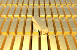 Guld- stänger eller guldtackor Royaltyfria Foton