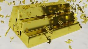Guld- stänger med fallande dollarsymboler stock illustrationer