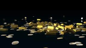 Guld- stänger och euromynt som faller på det reflekterande golvet, Alpha Channel, materiellängd i fot räknat royaltyfri illustrationer