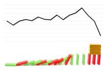 Guld- stänger som står på fallande domino med ett fallande diagram på bakgrund Arkivfoton