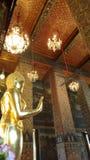 Guld- stående Buddhaskulptur i målat kapell av den kungliga templet Arkivbild
