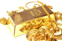 Guld- stång och smycken fotografering för bildbyråer
