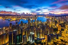Guld- stad på gryning - Hong Kong Arkivbild