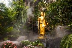 Guld- staty av en Buddha i Thailand Royaltyfria Bilder