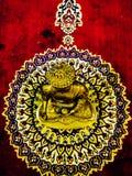 guld- staty av Herregautam buddha arkivbild