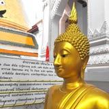 Guld- staty för Buddha på guld- bakgrund Thailand Royaltyfria Foton