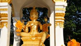 Guld- statyer av olika buddistiska hypostases i en stor Buddhatempel komplexa Pattaya, Thailand stock video
