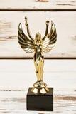 Guld- statyett på träbakgrunden Royaltyfri Fotografi