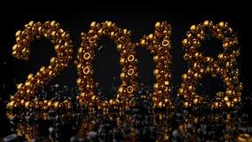 Guld stenar ordnat i numret 2018, tolkningen 3D Arkivfoto