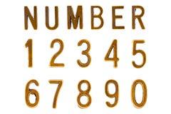 Guld- stilsort för stilstilsort för nummer 1 till 0 Retro framsida Arkivfoton
