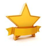 guld- stjärna 3d på vit bakgrund Royaltyfri Bild