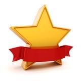 guld- stjärna 3d på vit bakgrund Arkivbild