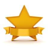 guld- stjärna 3d på vit bakgrund Royaltyfria Bilder