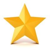guld- stjärna 3d på vit bakgrund Arkivfoto