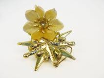 Guld- stjärna med blomman Fotografering för Bildbyråer