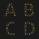 Guld- stjärnaalfabet royaltyfri illustrationer