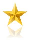 Guld- stjärnaform på vit med reflexion stock illustrationer