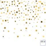 Guld- stjärnakonfettier regnar festlig feriebakgrund Vektorgolde Royaltyfri Bild